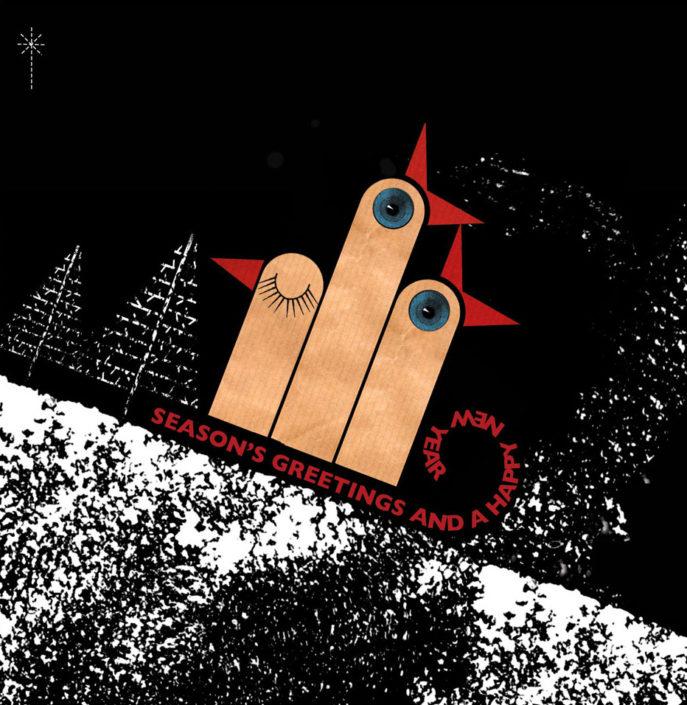 """Sledging"" Christmas Card"