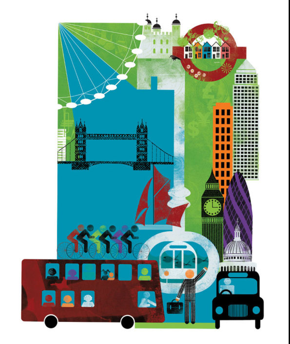"""Travelling around London"" print"